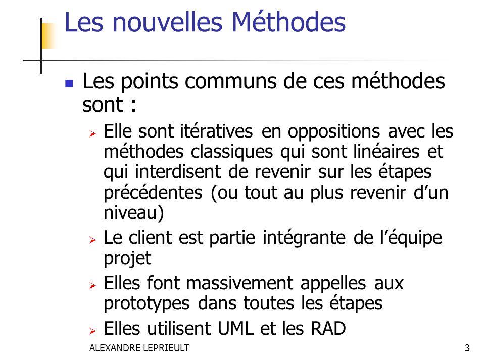 ALEXANDRE LEPRIEULT 3 Les nouvelles Méthodes Les points communs de ces méthodes sont : Elle sont itératives en oppositions avec les méthodes classique