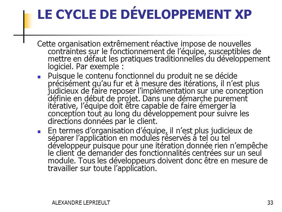 ALEXANDRE LEPRIEULT 33 LE CYCLE DE DÉVELOPPEMENT XP Cette organisation extrêmement réactive impose de nouvelles contraintes sur le fonctionnement de l
