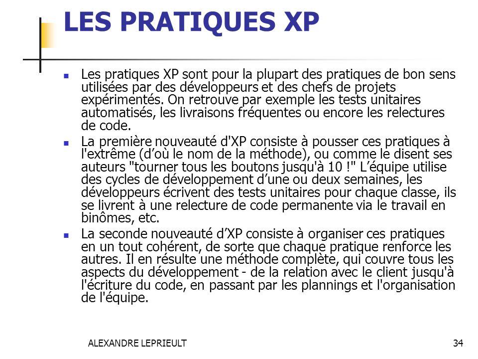 ALEXANDRE LEPRIEULT 34 LES PRATIQUES XP Les pratiques XP sont pour la plupart des pratiques de bon sens utilisées par des développeurs et des chefs de