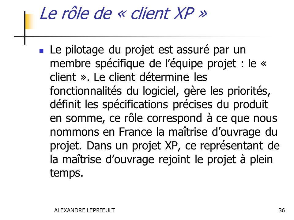 ALEXANDRE LEPRIEULT 36 Le rôle de « client XP » Le pilotage du projet est assuré par un membre spécifique de léquipe projet : le « client ». Le client