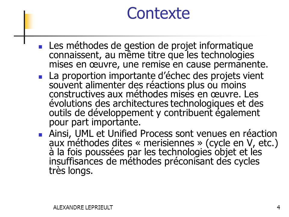 ALEXANDRE LEPRIEULT 4 Contexte Les méthodes de gestion de projet informatique connaissent, au même titre que les technologies mises en œuvre, une remi