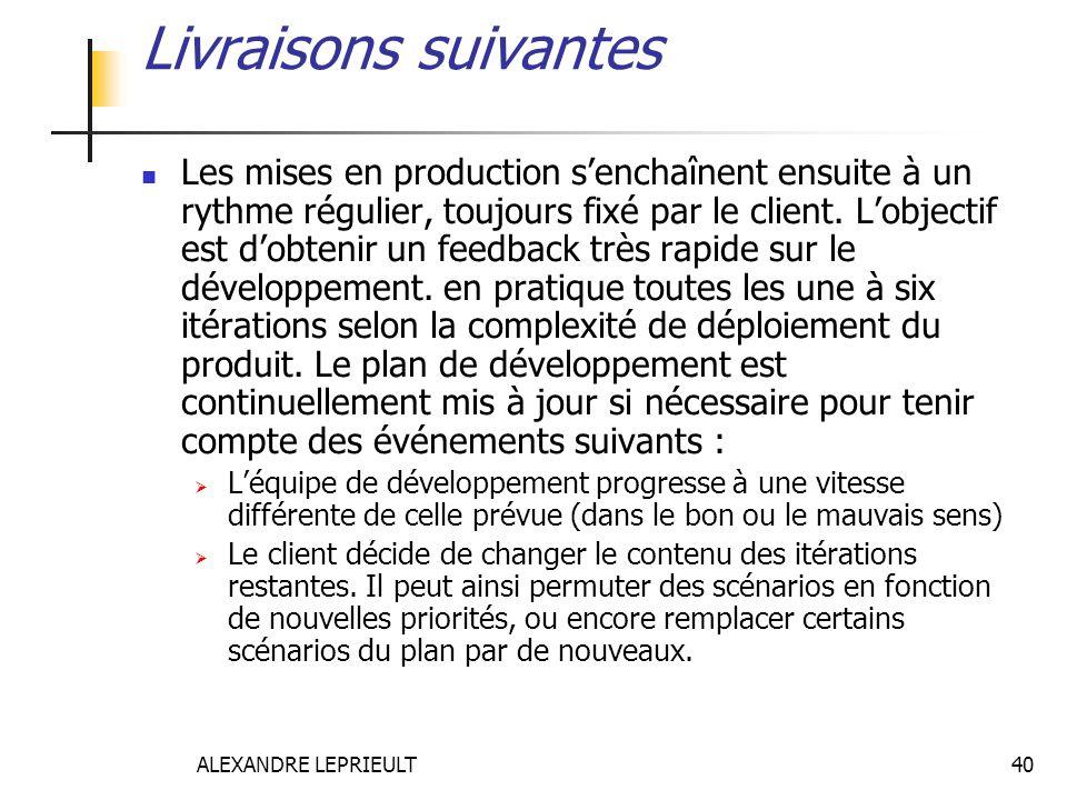 ALEXANDRE LEPRIEULT 40 Livraisons suivantes Les mises en production senchaînent ensuite à un rythme régulier, toujours fixé par le client. Lobjectif e