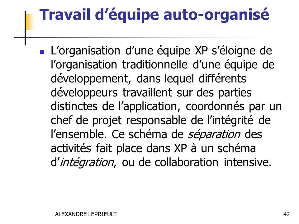 ALEXANDRE LEPRIEULT 42 Travail déquipe auto-organisé Lorganisation dune équipe XP séloigne de lorganisation traditionnelle dune équipe de développemen