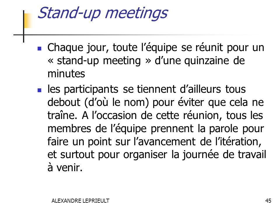 ALEXANDRE LEPRIEULT 45 Stand-up meetings Chaque jour, toute léquipe se réunit pour un « stand-up meeting » dune quinzaine de minutes les participants