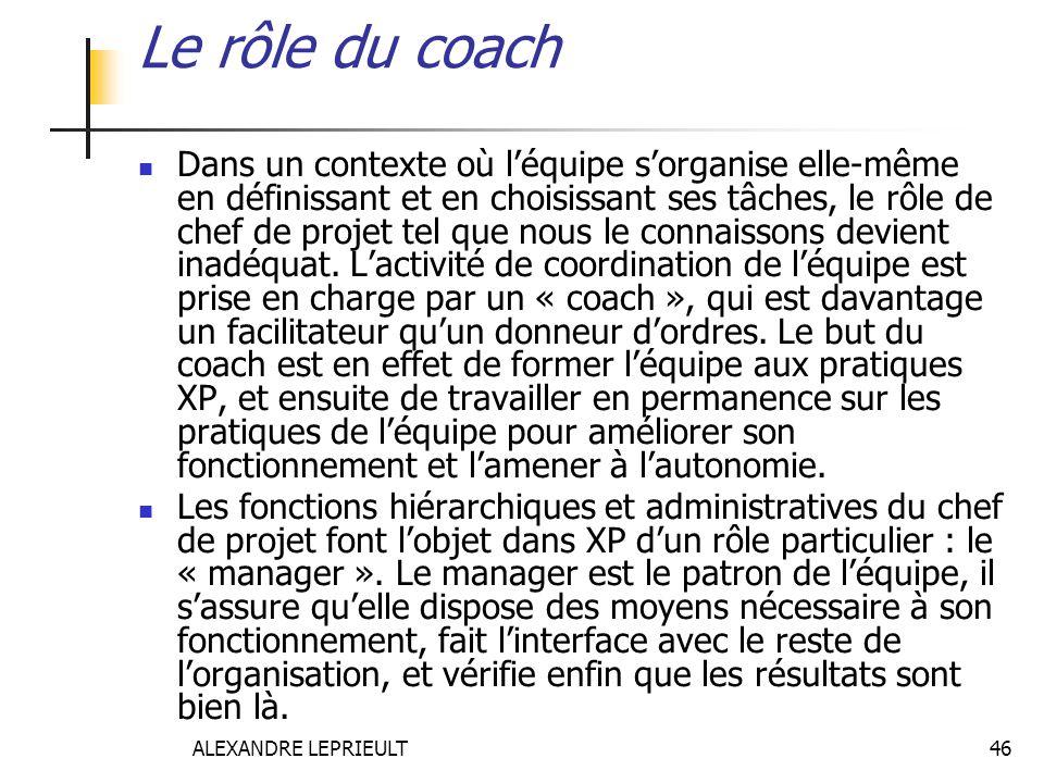 ALEXANDRE LEPRIEULT 46 Le rôle du coach Dans un contexte où léquipe sorganise elle-même en définissant et en choisissant ses tâches, le rôle de chef d