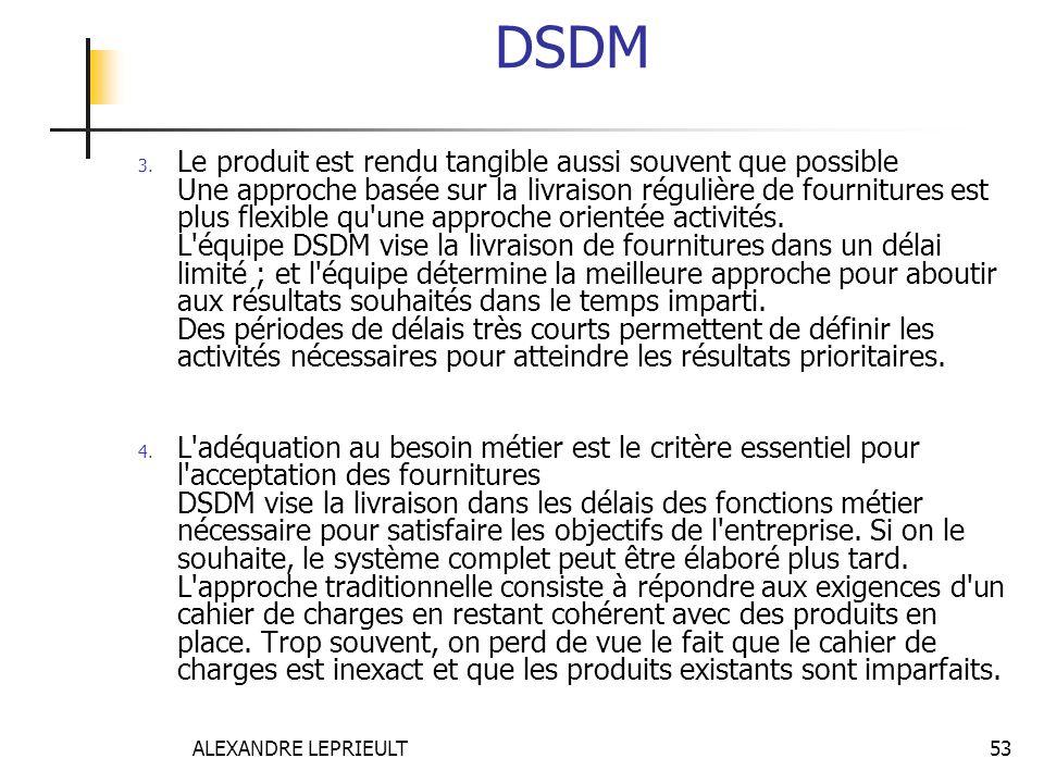 ALEXANDRE LEPRIEULT 53 DSDM 3. Le produit est rendu tangible aussi souvent que possible Une approche basée sur la livraison régulière de fournitures e