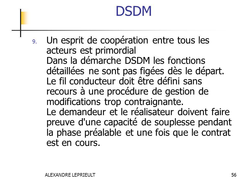 ALEXANDRE LEPRIEULT 56 DSDM 9. Un esprit de coopération entre tous les acteurs est primordial Dans la démarche DSDM les fonctions détaillées ne sont p