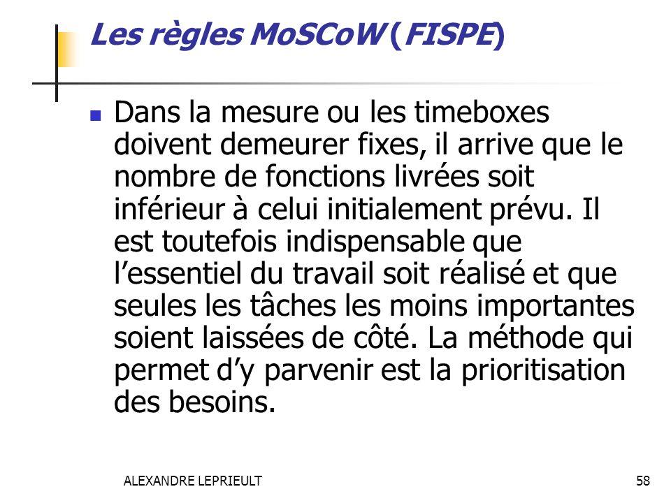 ALEXANDRE LEPRIEULT 58 Les règles MoSCoW (FISPE) Dans la mesure ou les timeboxes doivent demeurer fixes, il arrive que le nombre de fonctions livrées