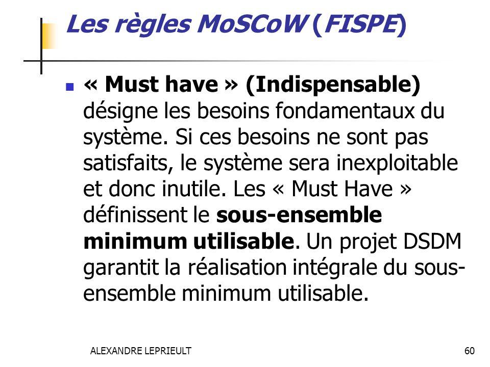 ALEXANDRE LEPRIEULT 60 Les règles MoSCoW (FISPE) « Must have » (Indispensable) désigne les besoins fondamentaux du système. Si ces besoins ne sont pas
