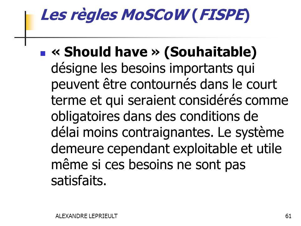 ALEXANDRE LEPRIEULT 61 Les règles MoSCoW (FISPE) « Should have » (Souhaitable) désigne les besoins importants qui peuvent être contournés dans le cour