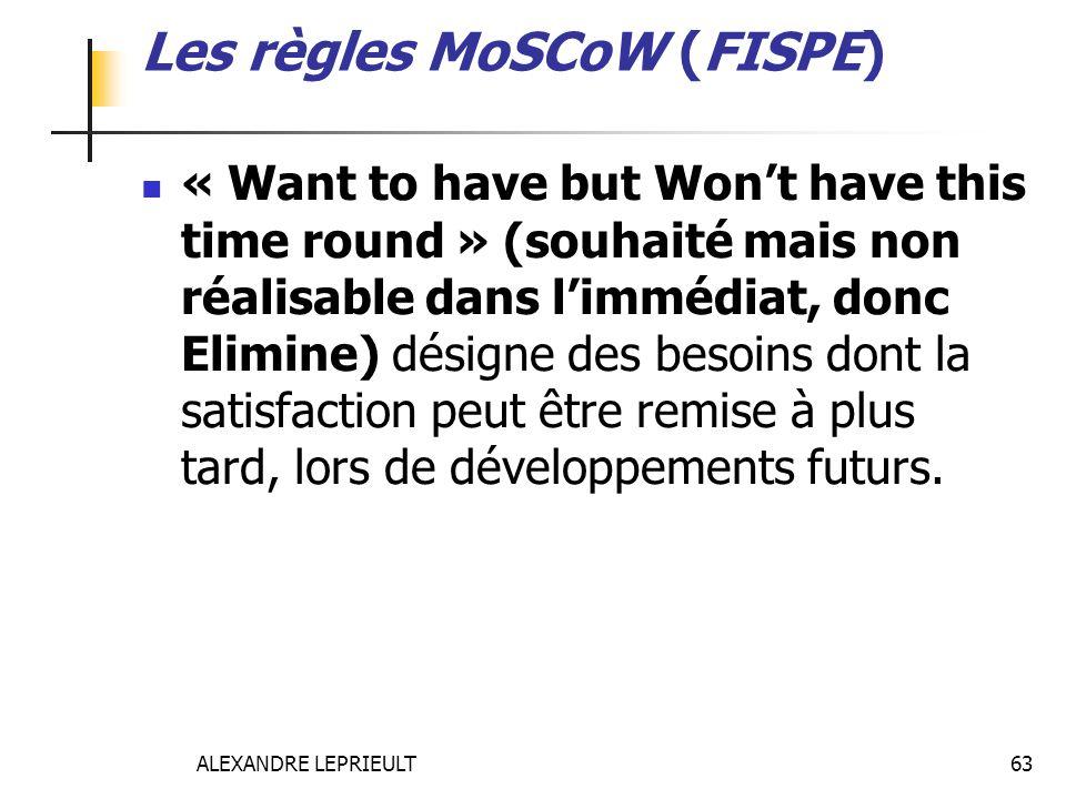 ALEXANDRE LEPRIEULT 63 Les règles MoSCoW (FISPE) « Want to have but Wont have this time round » (souhaité mais non réalisable dans limmédiat, donc Eli