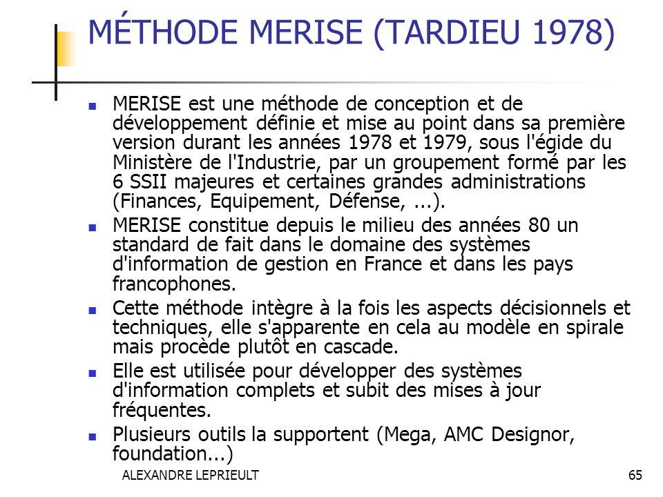 ALEXANDRE LEPRIEULT 65 MÉTHODE MERISE (TARDIEU 1978) MERISE est une méthode de conception et de développement définie et mise au point dans sa premièr