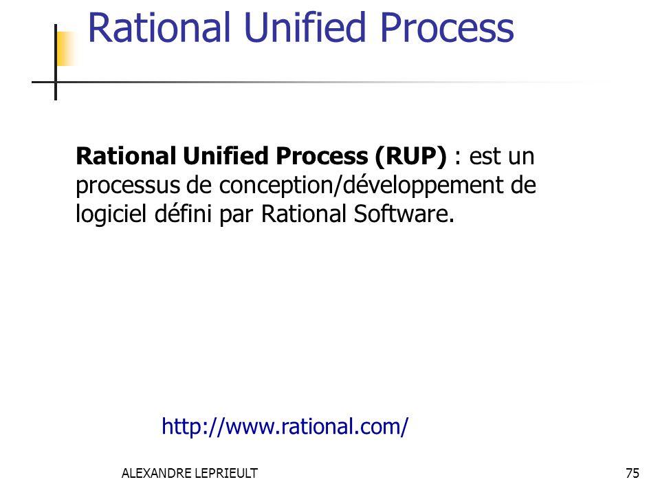 ALEXANDRE LEPRIEULT 75 Rational Unified Process Rational Unified Process (RUP) : est un processus de conception/développement de logiciel défini par R