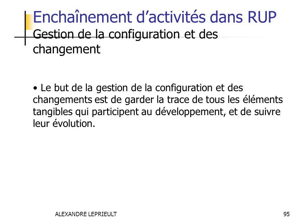 ALEXANDRE LEPRIEULT 95 Enchaînement dactivités dans RUP Gestion de la configuration et des changement Le but de la gestion de la configuration et des