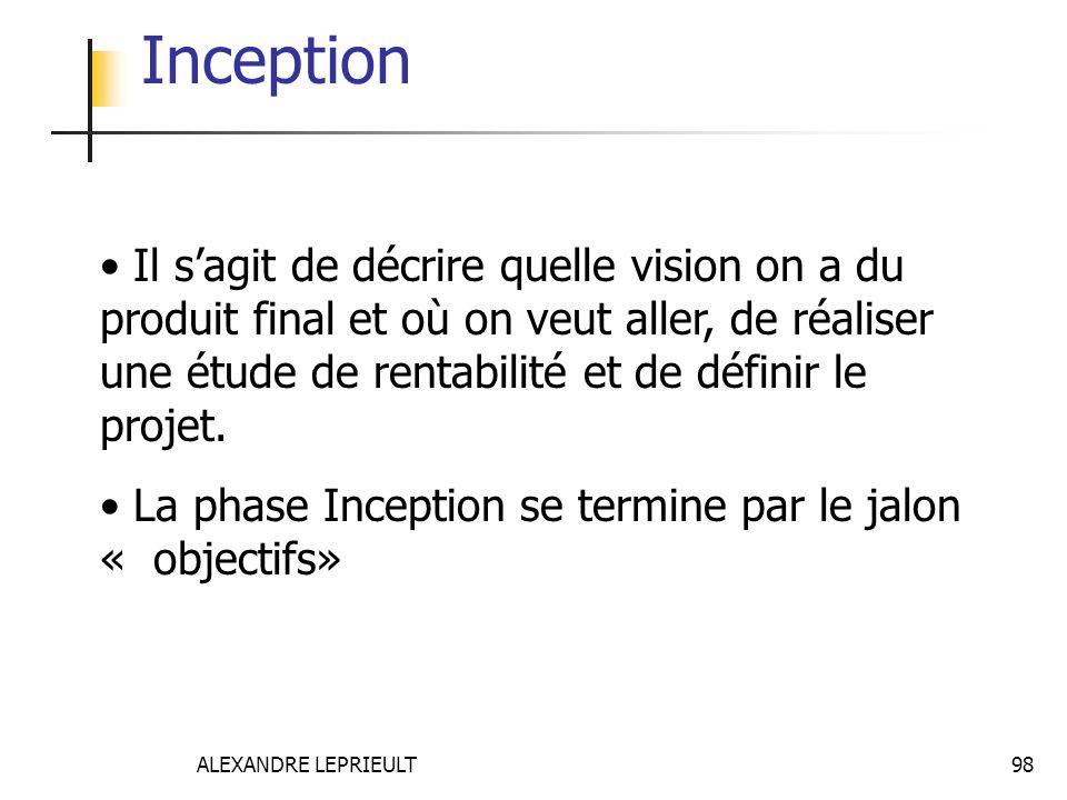 ALEXANDRE LEPRIEULT 98 Inception Il sagit de décrire quelle vision on a du produit final et où on veut aller, de réaliser une étude de rentabilité et