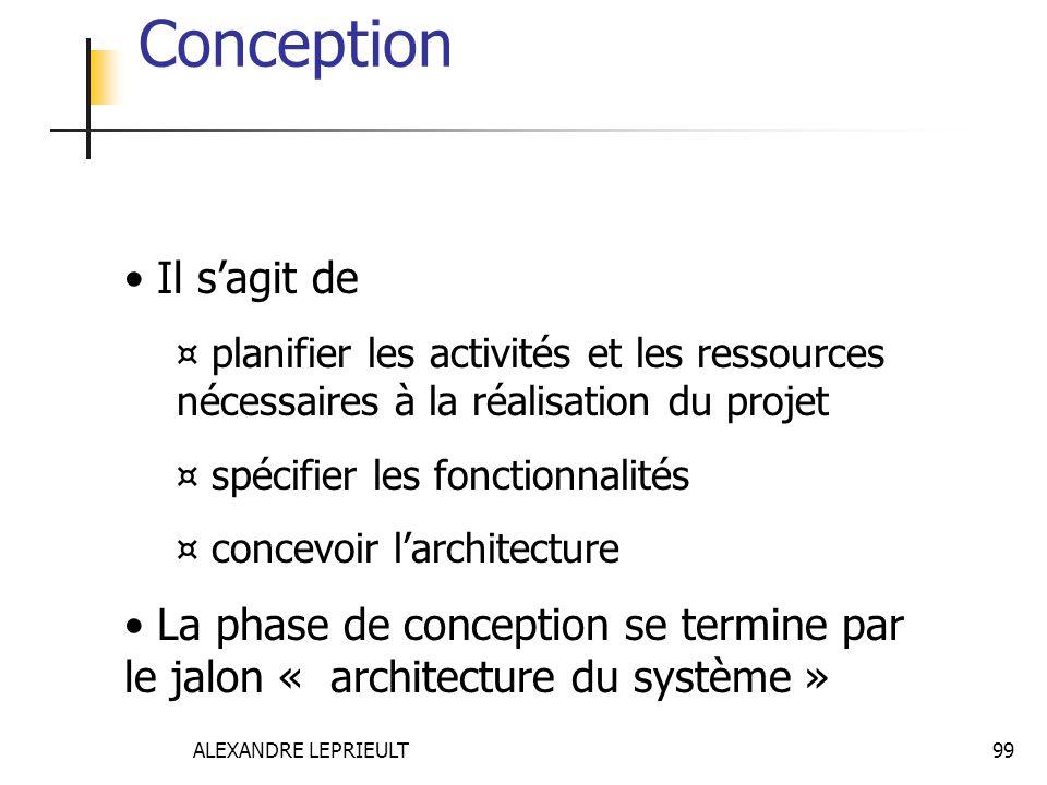 ALEXANDRE LEPRIEULT 99 Conception Il sagit de ¤ planifier les activités et les ressources nécessaires à la réalisation du projet ¤ spécifier les fonct