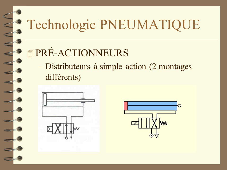 Technologie PNEUMATIQUE 4 PRÉ-ACTIONNEURS –Distributeurs à simple action (2 montages différents)