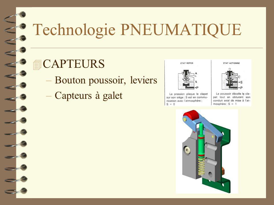 Technologie PNEUMATIQUE 4 CAPTEURS –Bouton poussoir, leviers –Capteurs à galet