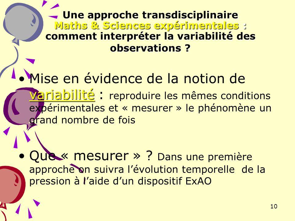 10 Une approche transdisciplinaire Maths & Sciences expérimentales : comment interpréter la variabilité des observations ? variabilitéMise en évidence