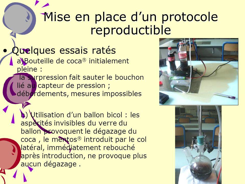 11 Mise en place dun protocole reproductible Quelques essais ratés a)Bouteille de coca ® initialement pleine : la surpression fait sauter le bouchon l