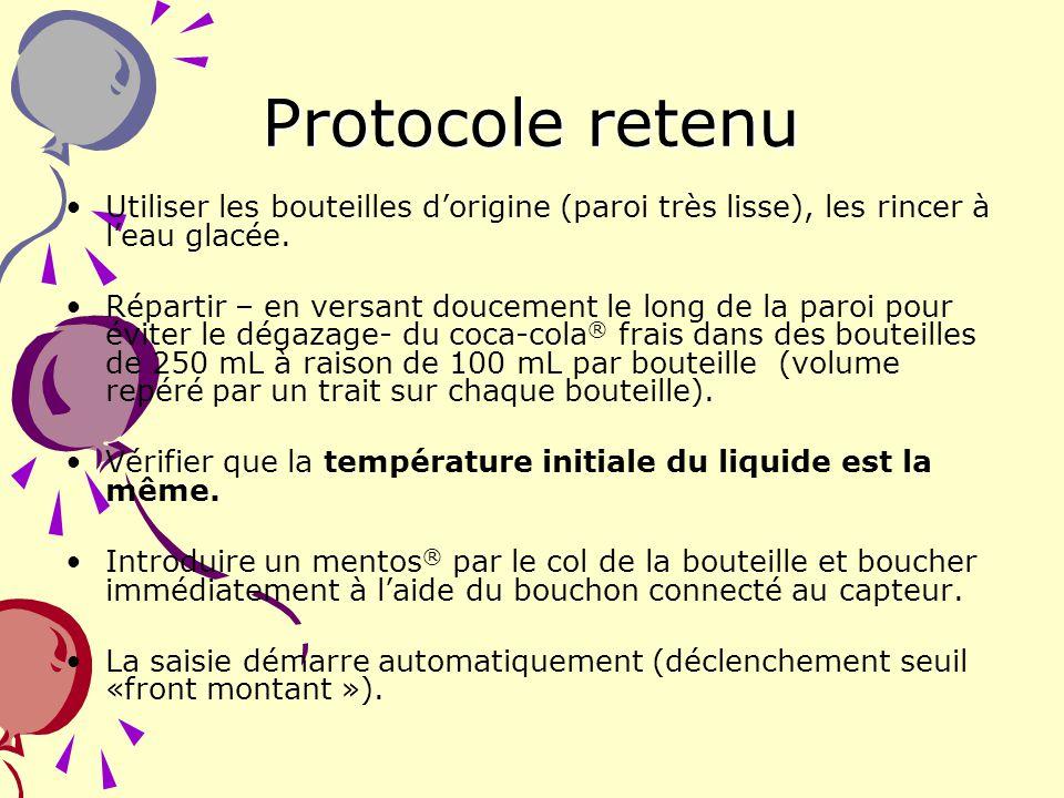 12 Protocole retenu Utiliser les bouteilles dorigine (paroi très lisse), les rincer à leau glacée. Répartir – en versant doucement le long de la paroi