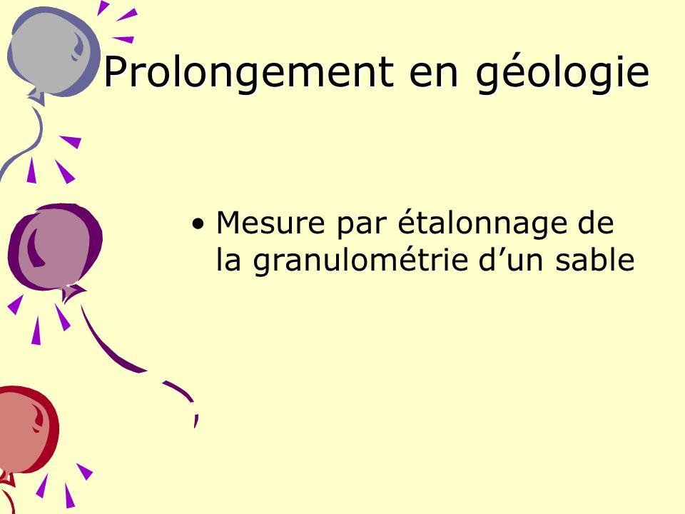 30 Prolongement en géologie Mesure par étalonnage de la granulométrie dun sable …………