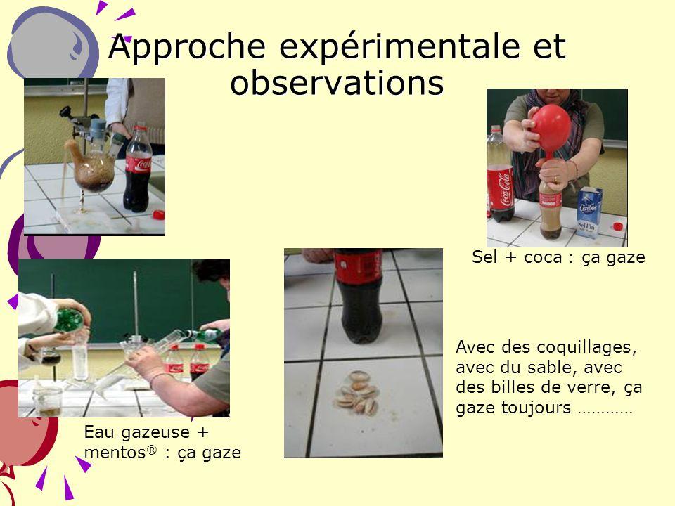 4 Approche expérimentale et observations Sel + coca : ça gaze Eau gazeuse + mentos ® : ça gaze Avec des coquillages, avec du sable, avec des billes de