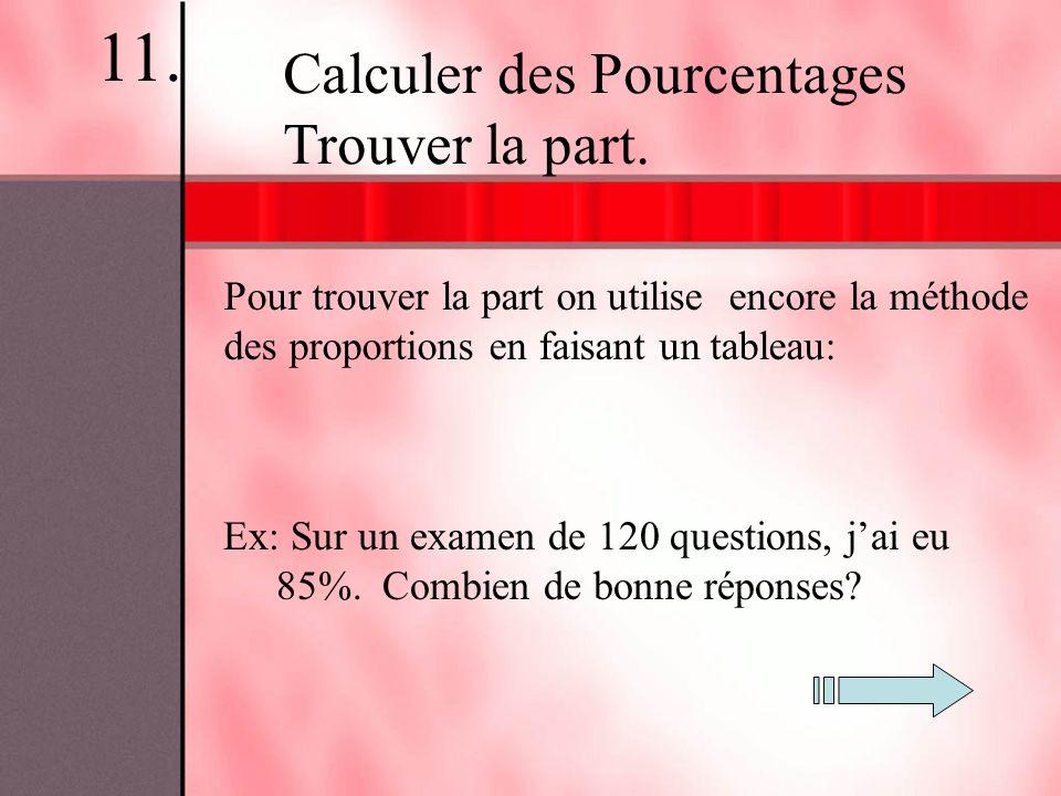 Pour trouver la part on utilise encore la méthode des proportions en faisant un tableau: Ex: Sur un examen de 120 questions, jai eu 85%. Combien de bo