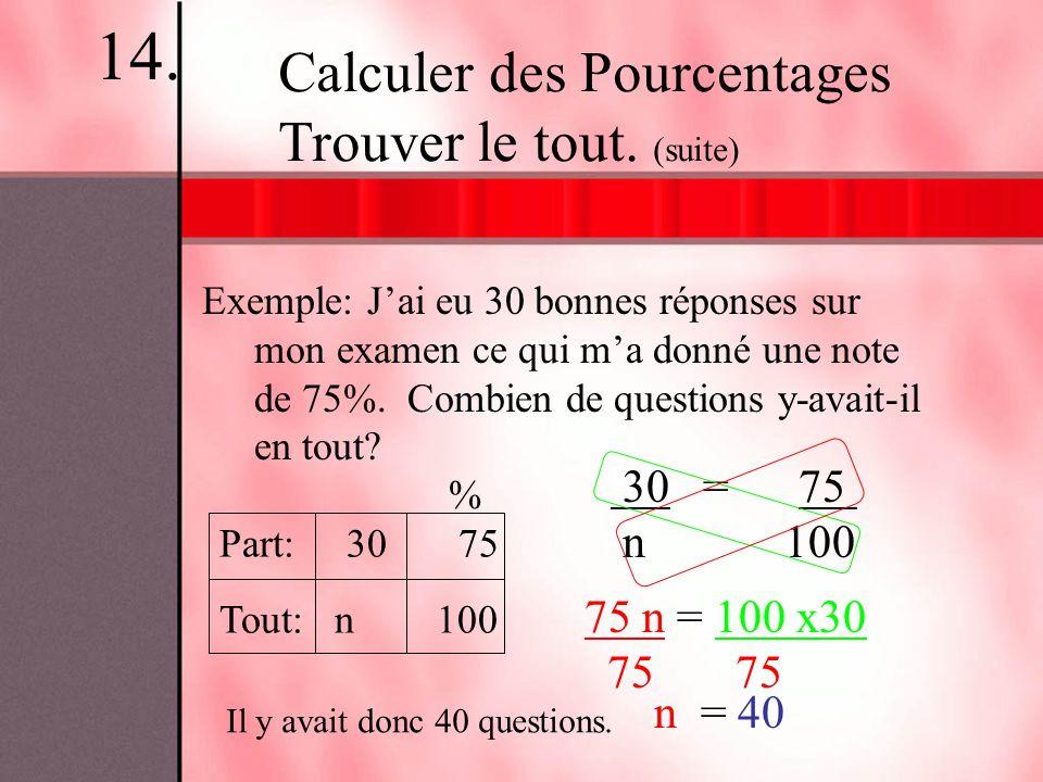 Exemple: Jai eu 30 bonnes réponses sur mon examen ce qui ma donné une note de 75%. Combien de questions y-avait-il en tout? Calculer des Pourcentages