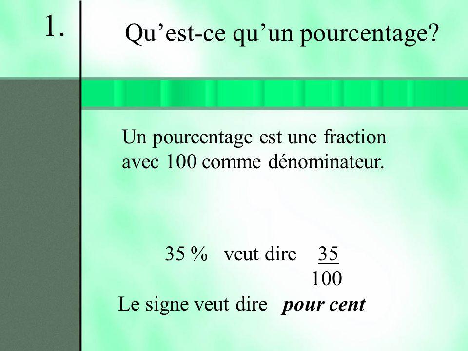 Un pourcentage est une fraction avec 100 comme dénominateur. 35 % veut dire 35 100 Le signe veut dire pour cent Quest-ce quun pourcentage? 1.