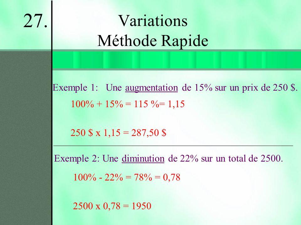 Variations Méthode Rapide Exemple 1: Une augmentation de 15% sur un prix de 250 $. 27. Exemple 2: Une diminution de 22% sur un total de 2500. 100% + 1