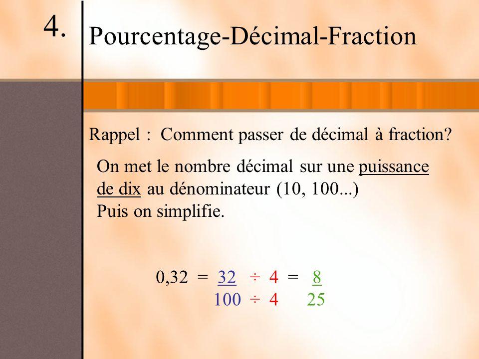 Rappel : Comment passer de décimal à fraction? Pourcentage-Décimal-Fraction On met le nombre décimal sur une puissance de dix au dénominateur (10, 100