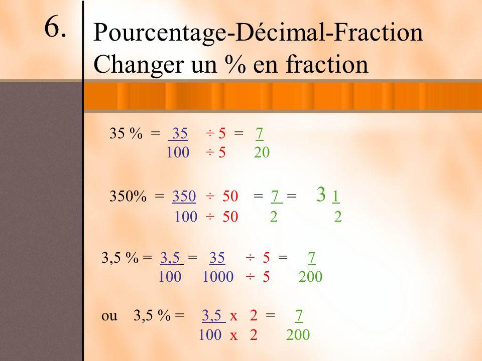 Pourcentage-Décimal-Fraction Changer un % en fraction 35 % = 35÷ 5 = 7 100 ÷ 520 350% = 350÷ 50= 7 = 3 1 100 ÷ 50 2 2 3,5 % = 3,5 = 35÷ 5 = 7 100 1000