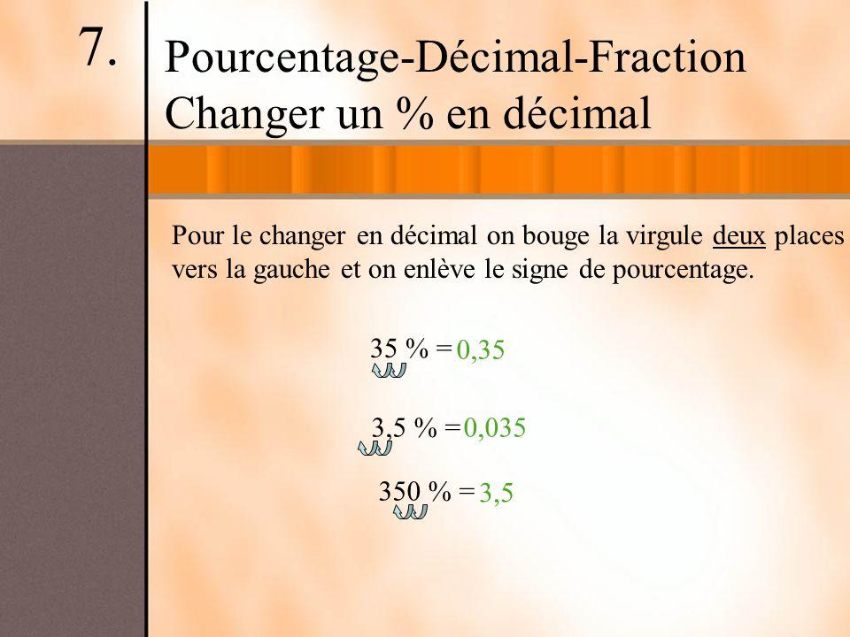 Pour le changer en décimal on bouge la virgule deux places vers la gauche et on enlève le signe de pourcentage. Pourcentage-Décimal-Fraction Changer u