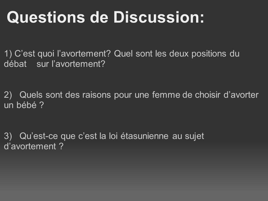 Questions de Discussion: 1) Cest quoi lavortement.