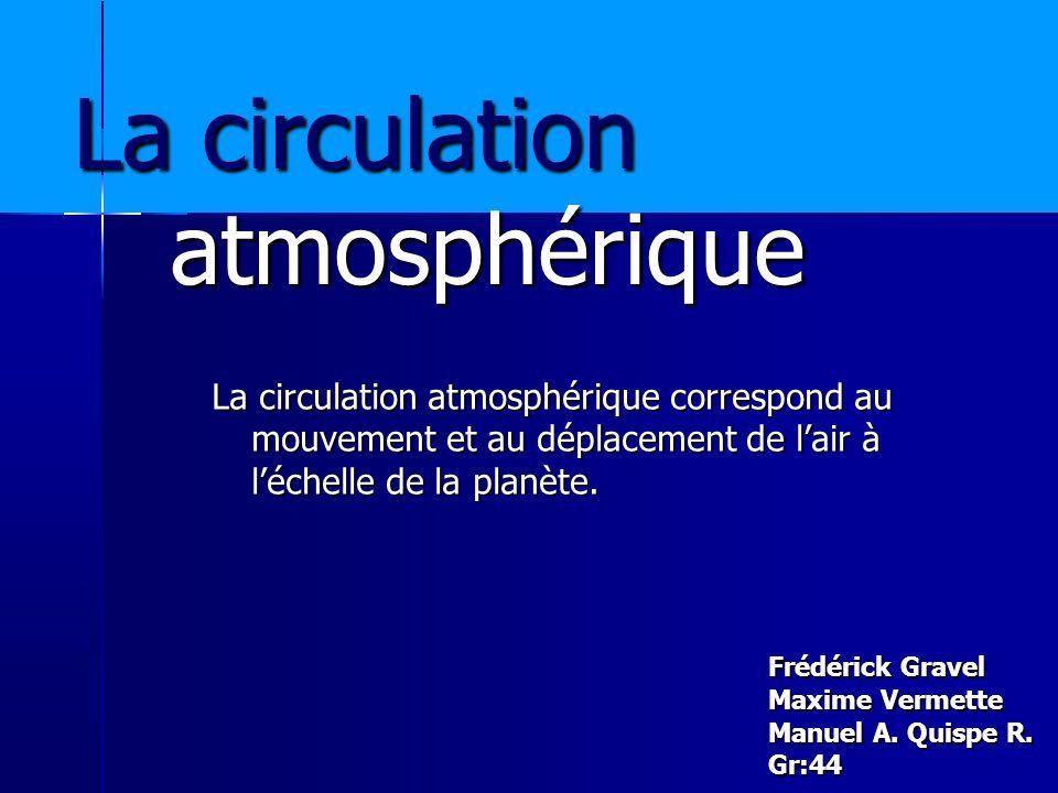 La circulation atmosphérique Frédérick Gravel Maxime Vermette Manuel A.