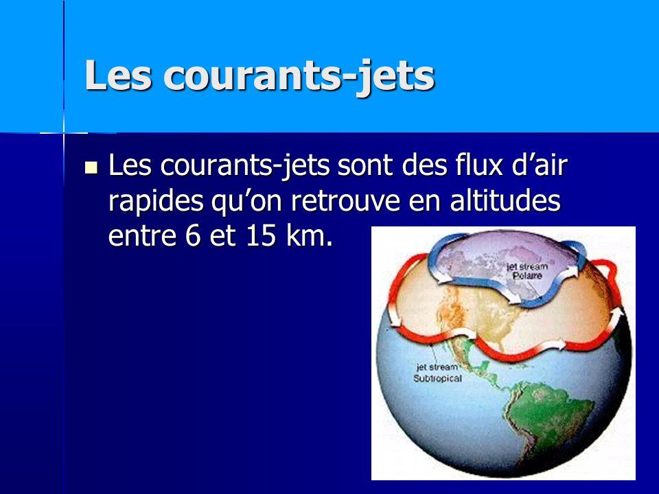 Les courants-jets Les courants-jets sont des flux dair rapides quon retrouve en altitudes entre 6 et 15 km.