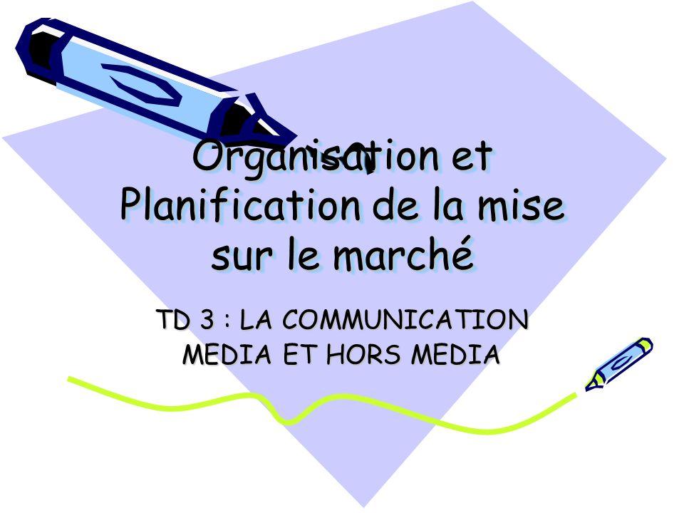 Organisation et Planification de la mise sur le marché TD 3 : LA COMMUNICATION MEDIA ET HORS MEDIA