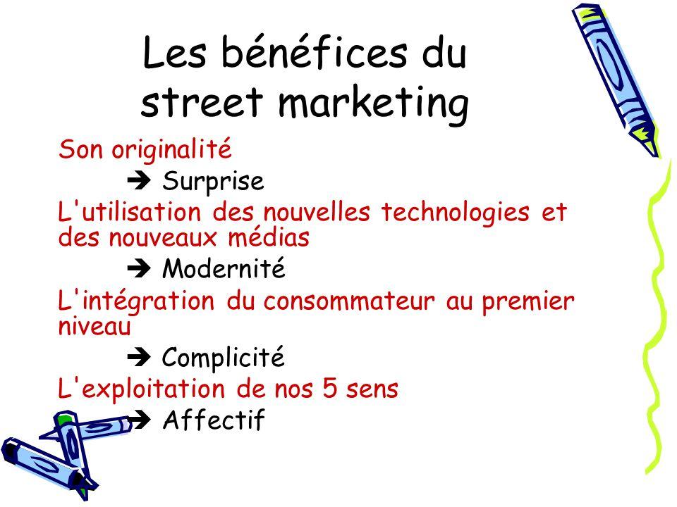 Les bénéfices du street marketing Son originalité Surprise L utilisation des nouvelles technologies et des nouveaux médias Modernité L intégration du consommateur au premier niveau Complicité L exploitation de nos 5 sens Affectif