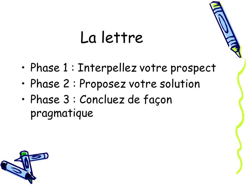 La lettre Phase 1 : Interpellez votre prospect Phase 2 : Proposez votre solution Phase 3 : Concluez de façon pragmatique
