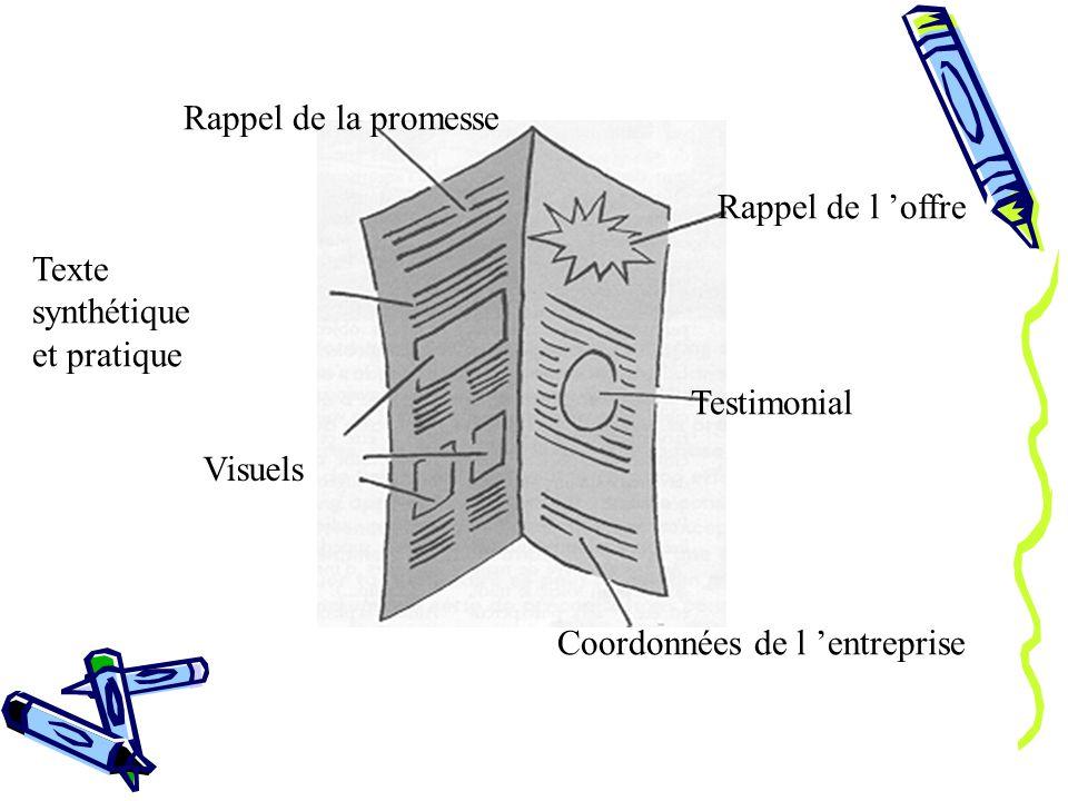 Rappel de l offre Testimonial Coordonnées de l entreprise Texte synthétique et pratique Visuels Rappel de la promesse