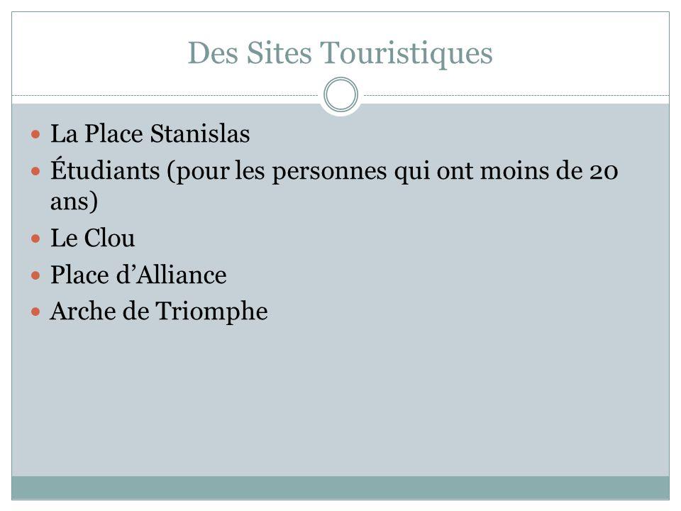 Des Sites Touristiques La Place Stanislas Étudiants (pour les personnes qui ont moins de 20 ans) Le Clou Place dAlliance Arche de Triomphe