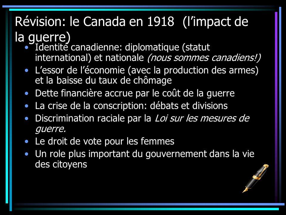 Révision: le Canada en 1918 (limpact de la guerre) Identité canadienne: diplomatique (statut international) et nationale (nous sommes canadiens!) Less