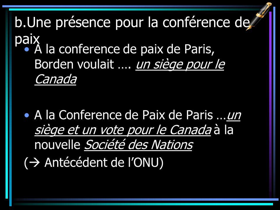 b.Une présence pour la conférence de paix A la conference de paix de Paris, Borden voulait …. un siège pour le Canada A la Conference de Paix de Paris