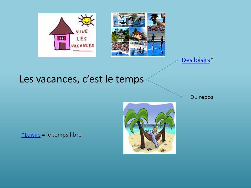 Les vacances, cest le temps Des loisirsDes loisirs* Du repos *Loisirs*Loisirs = le temps libre