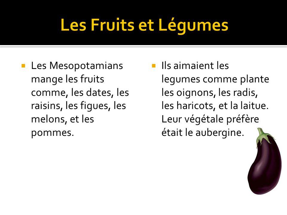 Les Mesopotamians mange les fruits comme, les dates, les raisins, les figues, les melons, et les pommes.