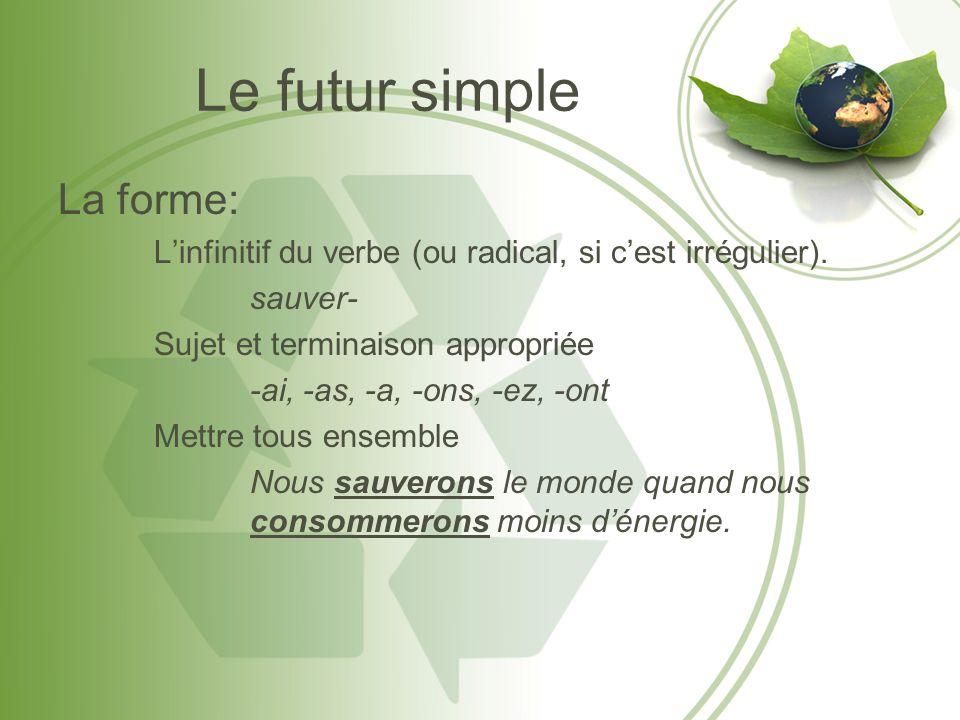 Le futur simple La forme: Linfinitif du verbe (ou radical, si cest irrégulier). sauver- Sujet et terminaison appropriée -ai, -as, -a, -ons, -ez, -ont