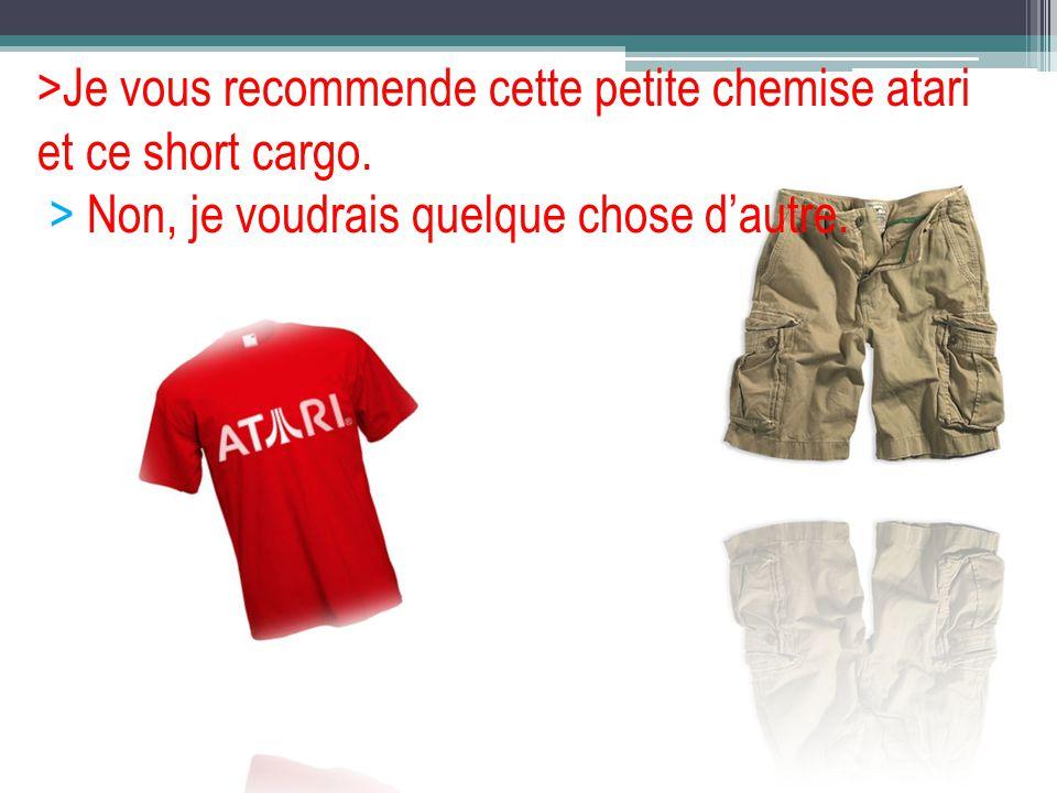 >Je vous recommende cette petite chemise atari et ce short cargo. > Non, je voudrais quelque chose dautre.