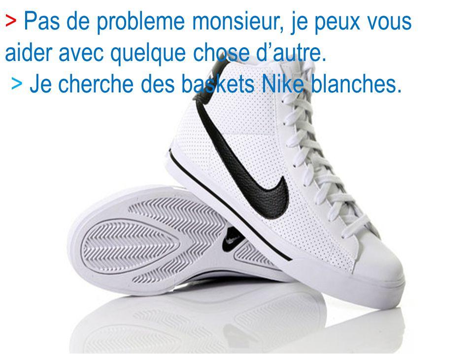 > Pas de probleme monsieur, je peux vous aider avec quelque chose dautre. > Je cherche des baskets Nike blanches.