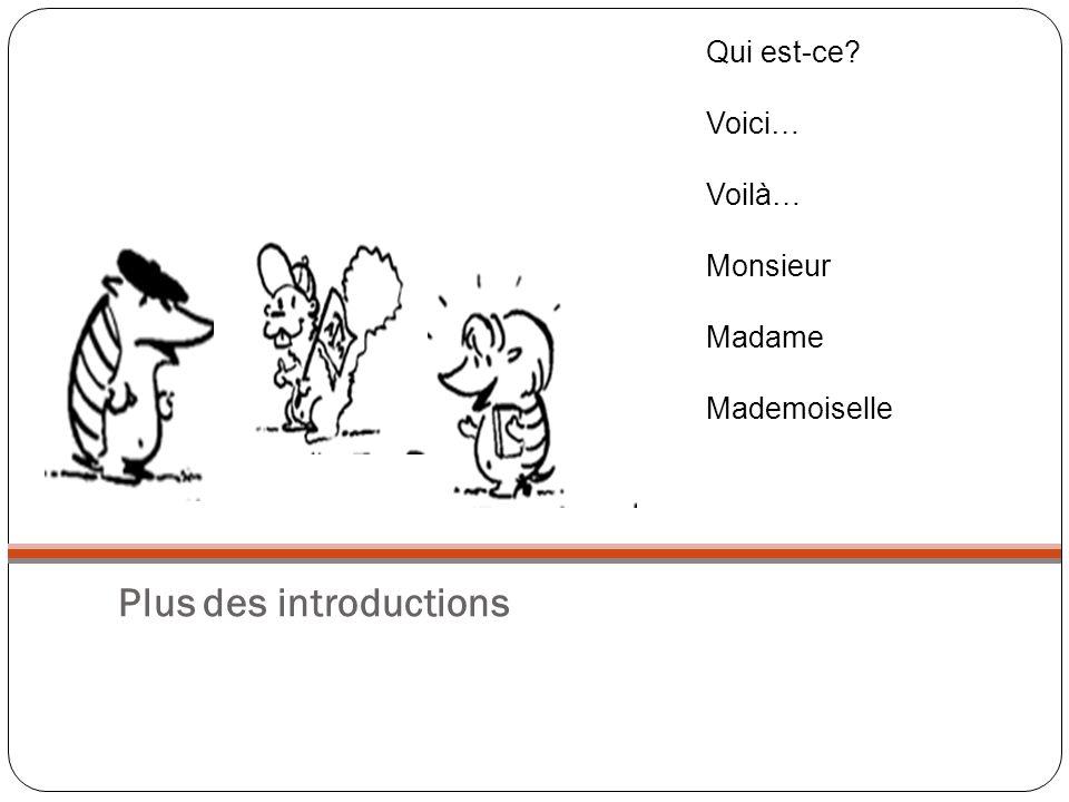Plus des introductions Qui est-ce? Voici… Voilà… Monsieur Madame Mademoiselle